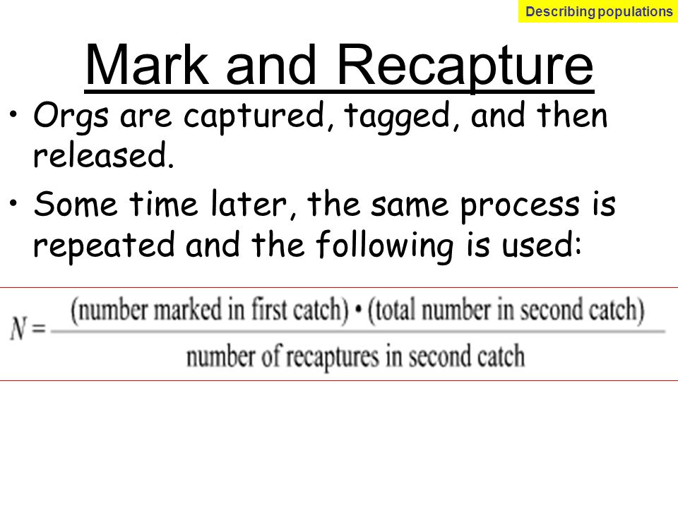 Mark and Recapture Orgs are captured, tagged, and then released. Some time later, the same process is repeated and the following is used: Describing p