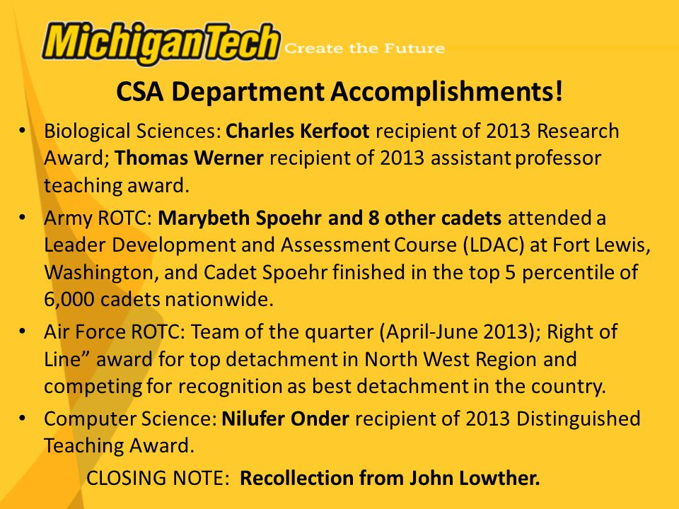 CSA Department Accomplishments.
