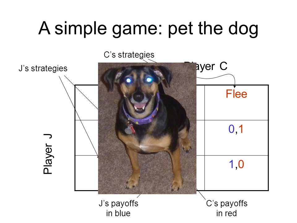 A simple game: pet the dog StayFlee Don't1,21,20,10,1 Pet2,12,11,01,0 Player J Player C C's strategies J's strategies J's payoffs in blue C's payoffs in red