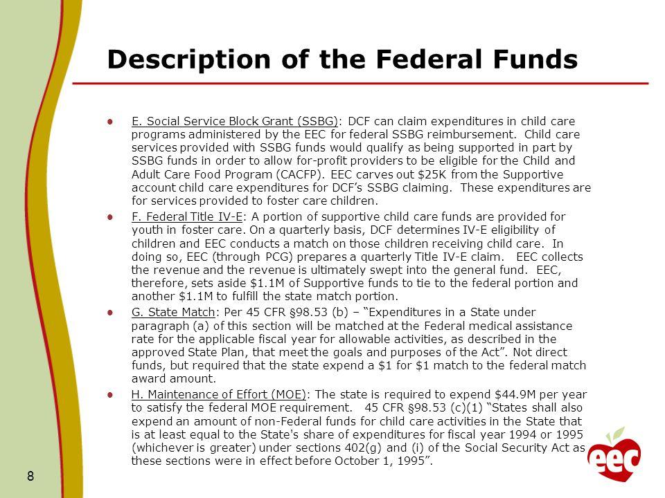 Description of the Federal Funds E.