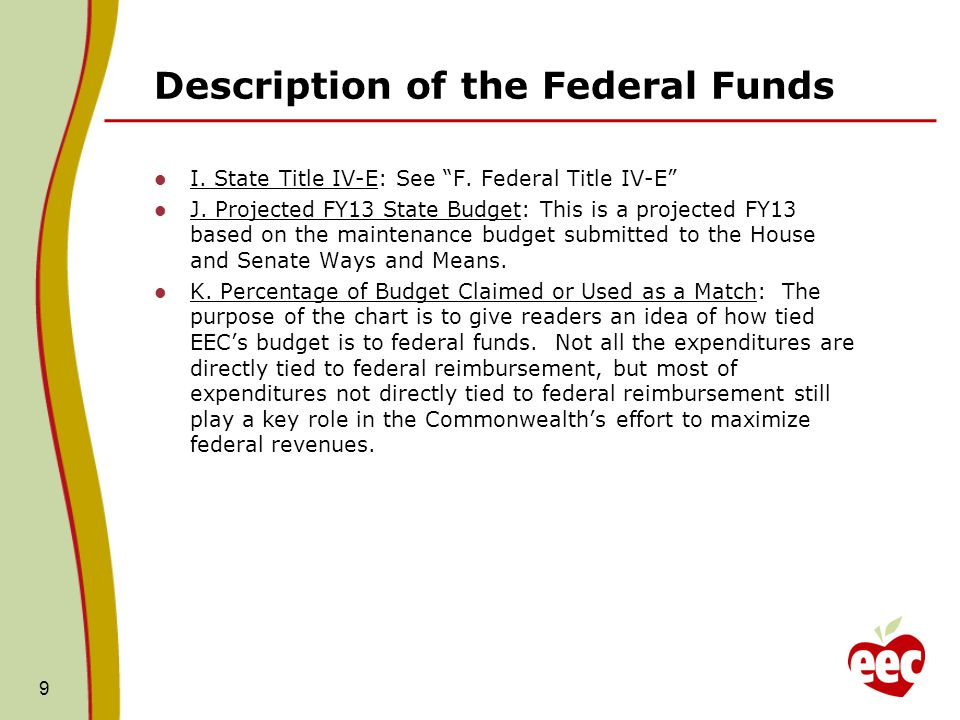 Description of the Federal Funds I. State Title IV-E: See F.