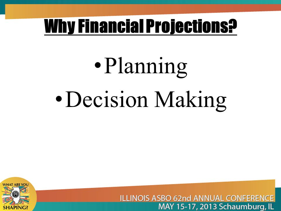Why Financial Projections? Planning Decision Making 2