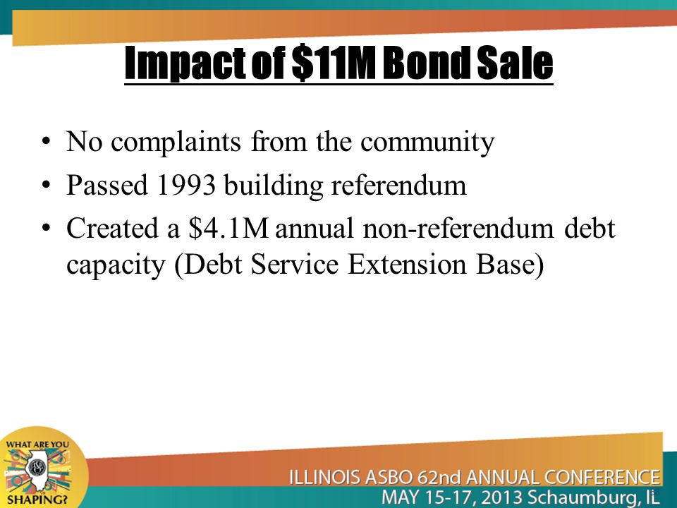 Impact of $11M Bond Sale No complaints from the community Passed 1993 building referendum Created a $4.1M annual non-referendum debt capacity (Debt Service Extension Base) 38