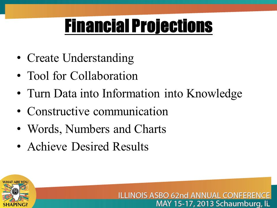 Financial Projections Create Understanding Tool for Collaboration Turn Data into Information into Knowledge Constructive communication Words, Numbers and Charts Achieve Desired Results 50
