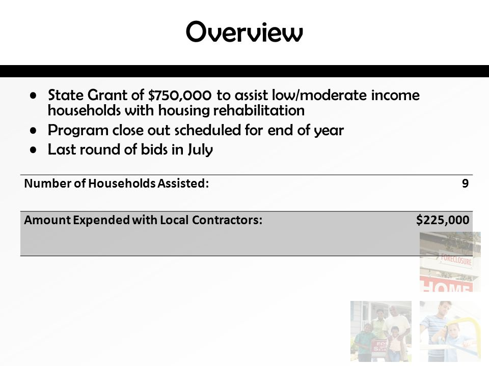Overview State Grant of $750,000 to assist low/moderate income households with housing rehabilitation Program close out scheduled for end of year Last round of bids in July Number of Households Assisted: 9 Amount Expended with Local Contractors: $225,000