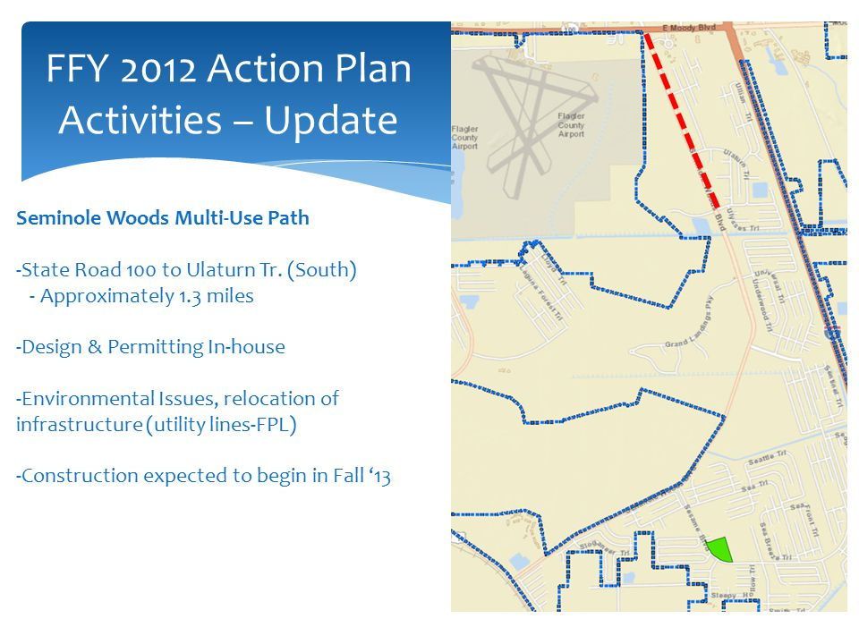 FFY 2012 Action Plan Activities – Update Seminole Woods Multi-Use Path -State Road 100 to Ulaturn Tr.