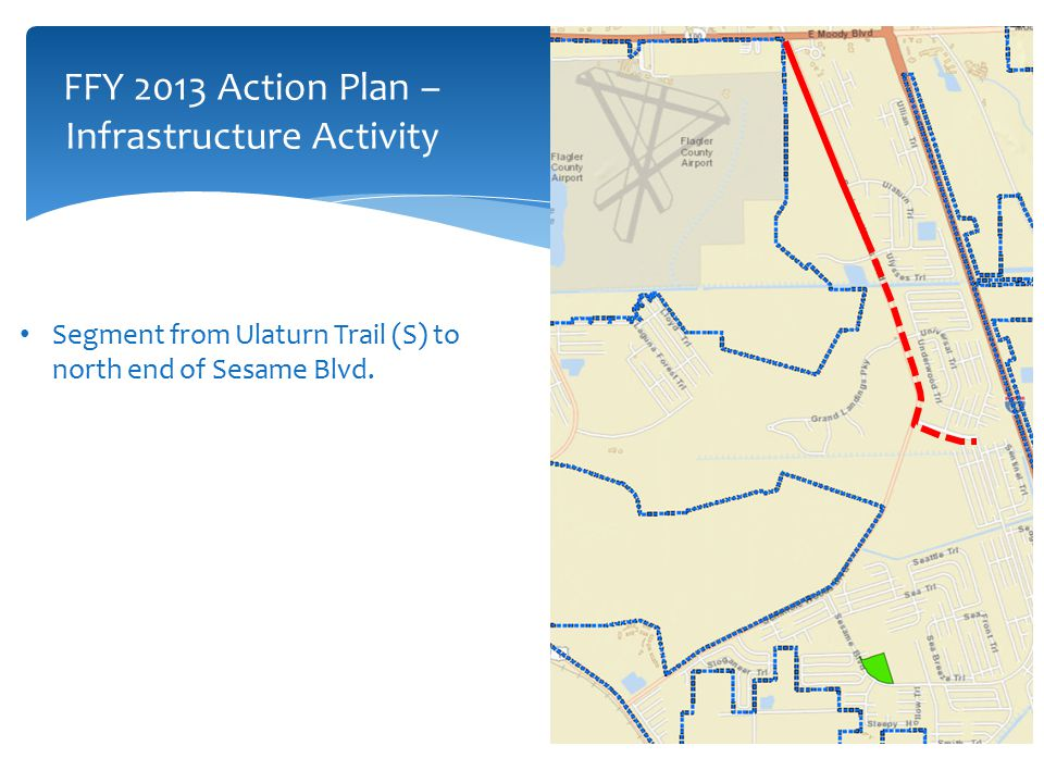 FFY 2013 Action Plan – Infrastructure Activity Segment from Ulaturn Trail (S) to north end of Sesame Blvd.