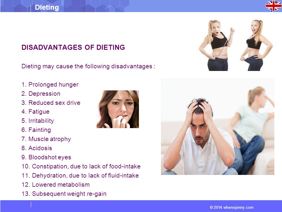 Dieting © 2014 wheresjenny.com DISADVANTAGES OF DIETING Dieting may cause the following disadvantages : 1.