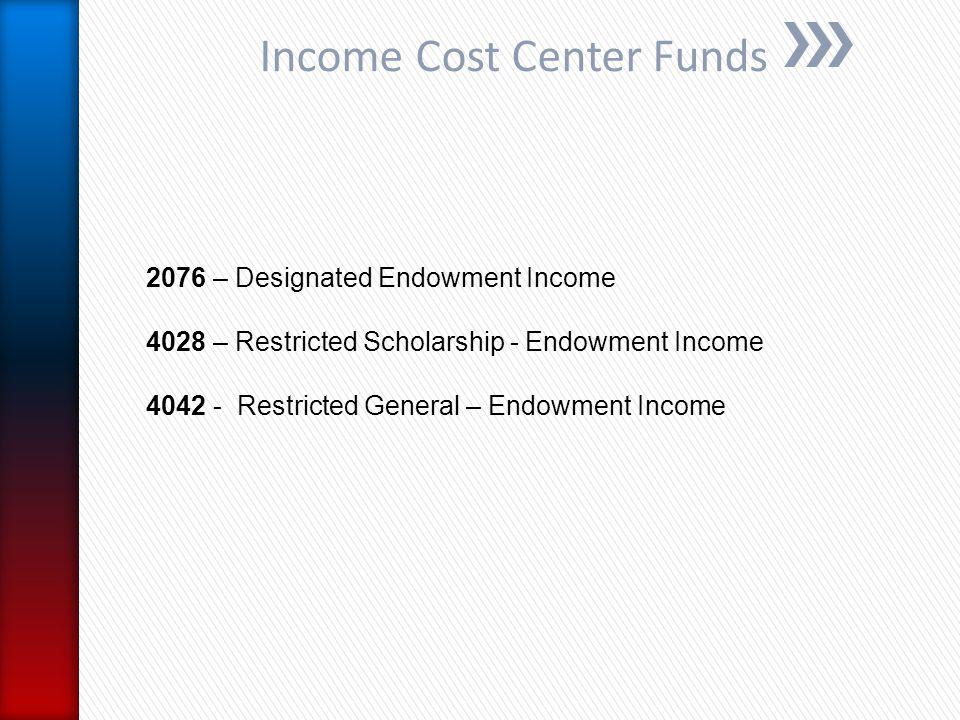Income Cost Center Funds 2076 – Designated Endowment Income 4028 – Restricted Scholarship - Endowment Income 4042 - Restricted General – Endowment Income