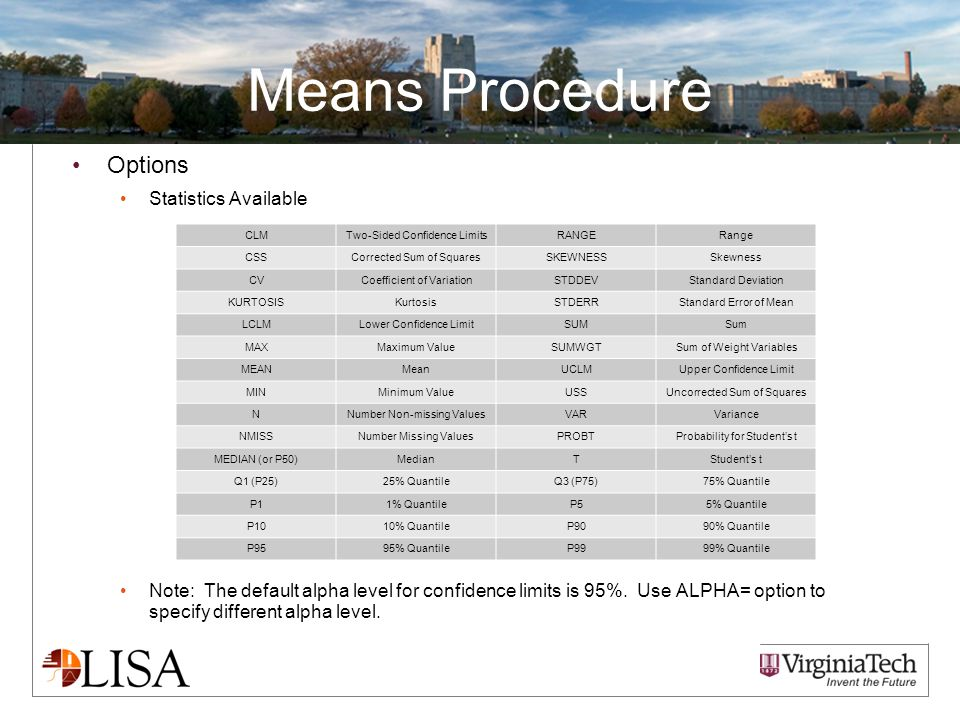 Means Procedure Options Statistics Available Note: The default alpha level for confidence limits is 95%.