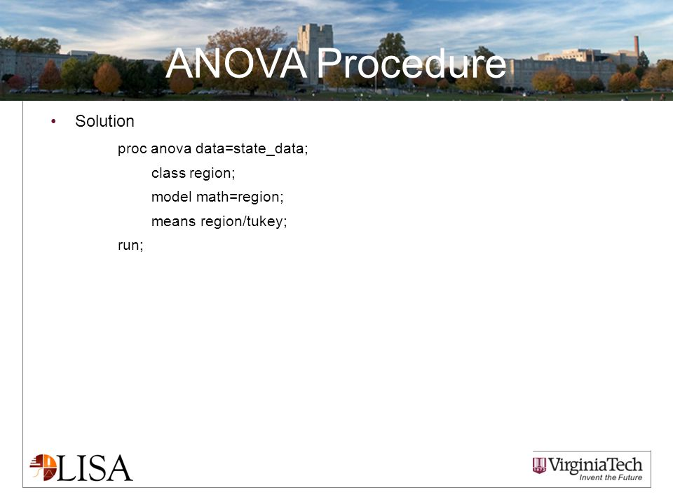 ANOVA Procedure Solution proc anova data=state_data; class region; model math=region; means region/tukey; run;