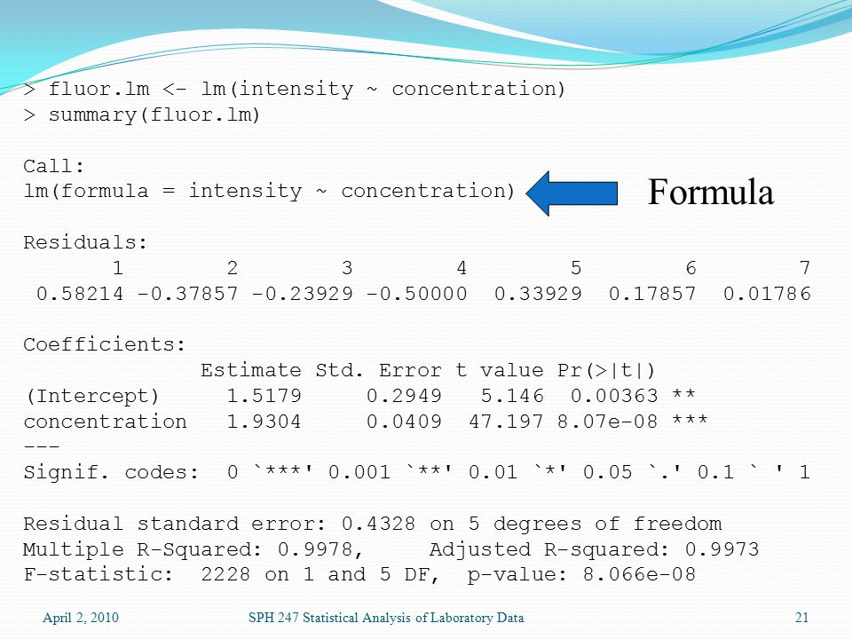 April 2, 2010SPH 247 Statistical Analysis of Laboratory Data21 > fluor.lm <- lm(intensity ~ concentration) > summary(fluor.lm) Call: lm(formula = intensity ~ concentration) Residuals: 1 2 3 4 5 6 7 0.58214 -0.37857 -0.23929 -0.50000 0.33929 0.17857 0.01786 Coefficients: Estimate Std.