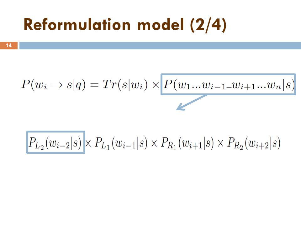 Reformulation model (2/4) 14