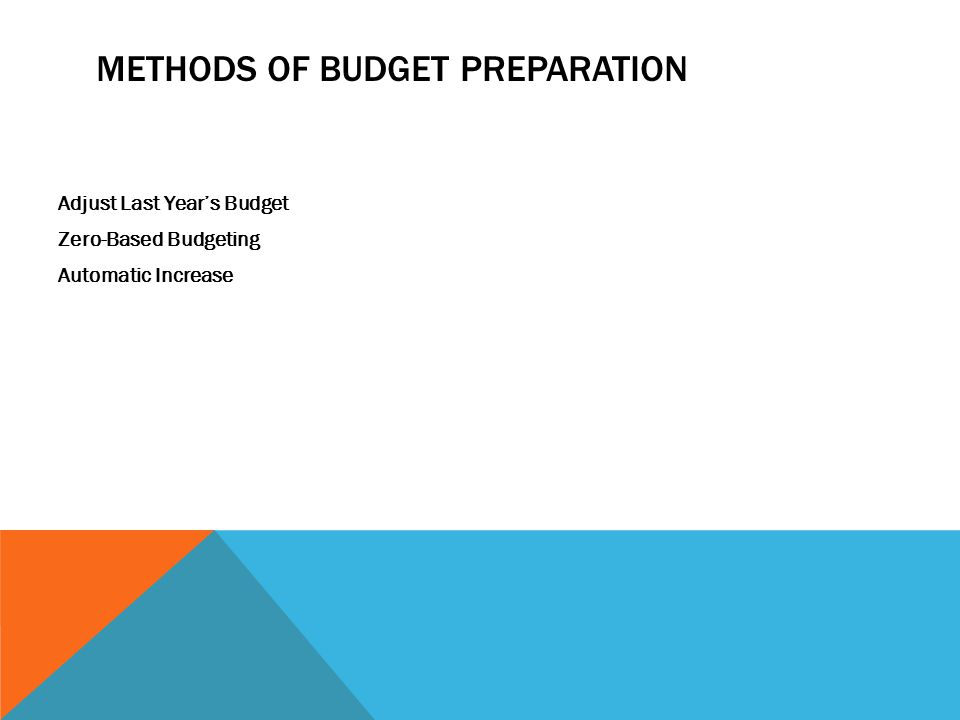 METHODS OF BUDGET PREPARATION Adjust Last Year's Budget Zero-Based Budgeting Automatic Increase