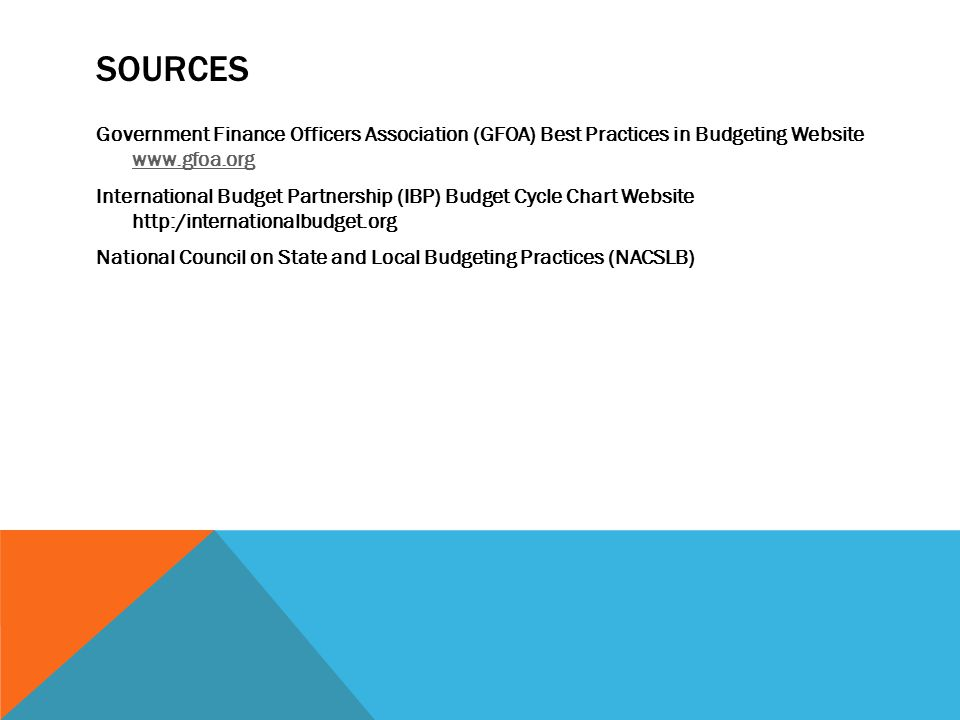 SOURCES Government Finance Officers Association (GFOA) Best Practices in Budgeting Website www.gfoa.org www.gfoa.org International Budget Partnership (IBP) Budget Cycle Chart Website http:/internationalbudget.org National Council on State and Local Budgeting Practices (NACSLB)