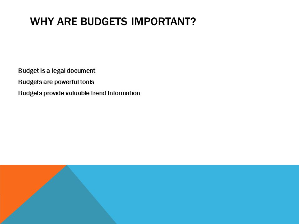 WHY ARE BUDGETS IMPORTANT.