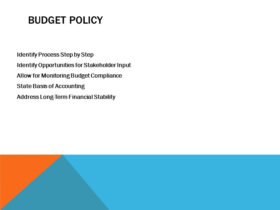 BUDGET POLICY Identify Process Step by Step Identify Opportunities for Stakeholder Input Allow for Monitoring Budget Compliance State Basis of Accounting Address Long-Term Financial Stability