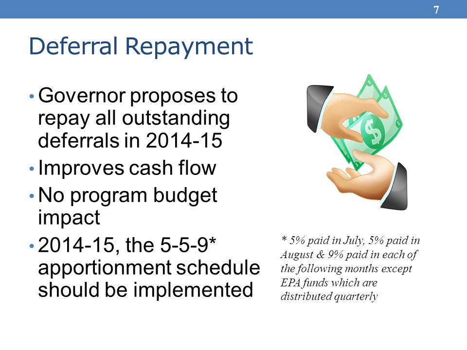 Deferral Repayment Governor proposes to repay all outstanding deferrals in 2014-15 Improves cash flow No program budget impact 2014-15, the 5-5-9* apportionment schedule should be implemented * 5% paid in July, 5% paid in August & 9% paid in each of the following months except EPA funds which are distributed quarterly 7
