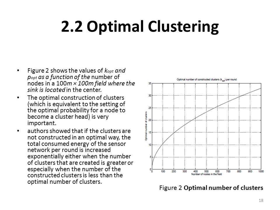 2.2 Optimal Clustering Figure 2 shows the values of k opt and p opt as a function of the number of nodes in a 100m × 100m field where the sink is loca