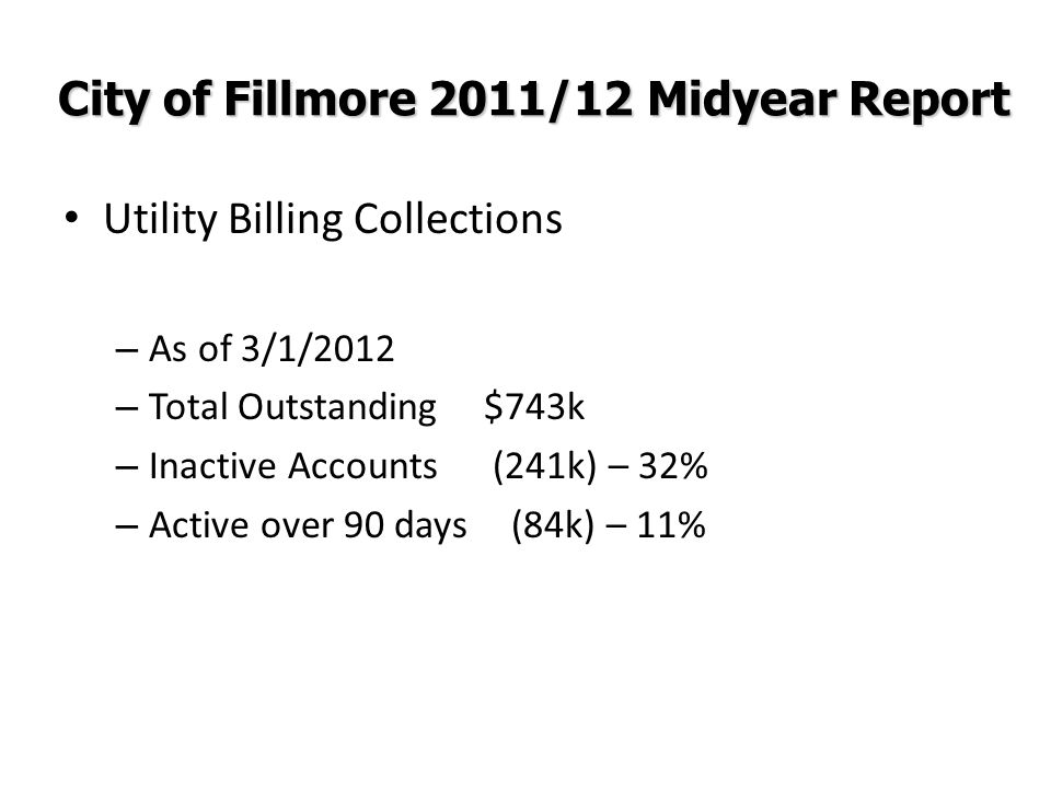 City of Fillmore 2011/12 Midyear Report Utility Billing Collections – As of 3/1/2012 – Total Outstanding$743k – Inactive Accounts (241k) – 32% – Activ