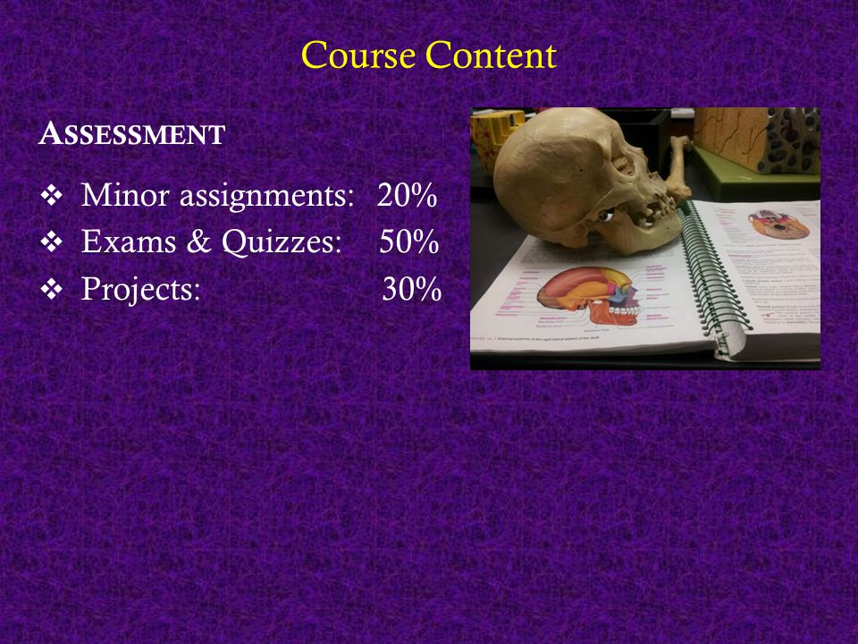 Course Content A SSESSMENT  Minor assignments: 20%  Exams & Quizzes: 50%  Projects: 30% P RACTICAL WORK  Focus on visualizing anatomy and conceptualizing physiology  Some major / some minor
