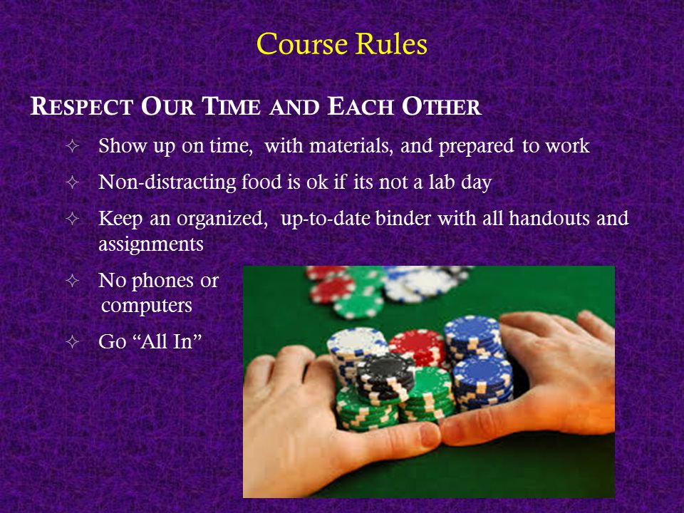 Course Rules R ESPECT O UR T IME AND E ACH O THER  Show up on time, with materials, and prepared to work  Non-distracting food is ok if its not a la