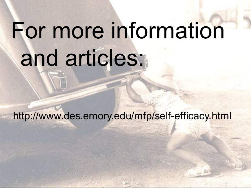 For more information and articles: http://www.des.emory.edu/mfp/self-efficacy.html