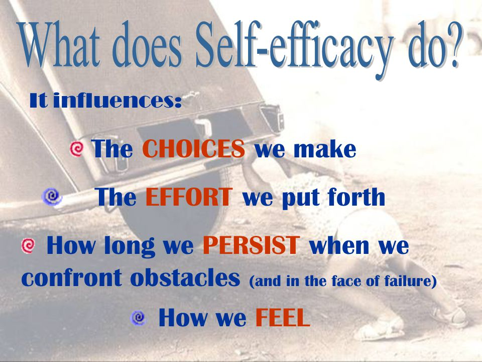 It influences: The EFFORT we put forth How long we PERSIST when we confront obstacles (and in the face of failure) How we FEEL The CHOICES we make