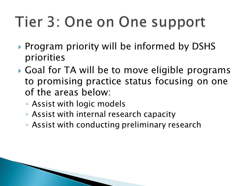  Program priority will be informed by DSHS priorities  Goal for TA will be to move eligible programs to promising practice status focusing on one of the areas below: ◦ Assist with logic models ◦ Assist with internal research capacity ◦ Assist with conducting preliminary research