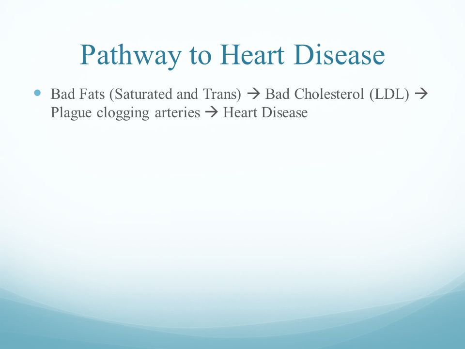 Pathway to Heart Disease Bad Fats (Saturated and Trans)  Bad Cholesterol (LDL)  Plague clogging arteries  Heart Disease
