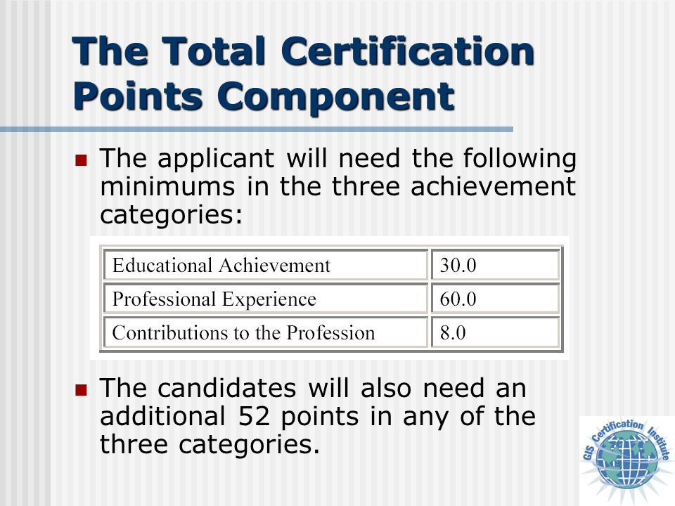 The Total Certification Points Component The applicant will need the following minimums in the three achievement categories: The candidates will also