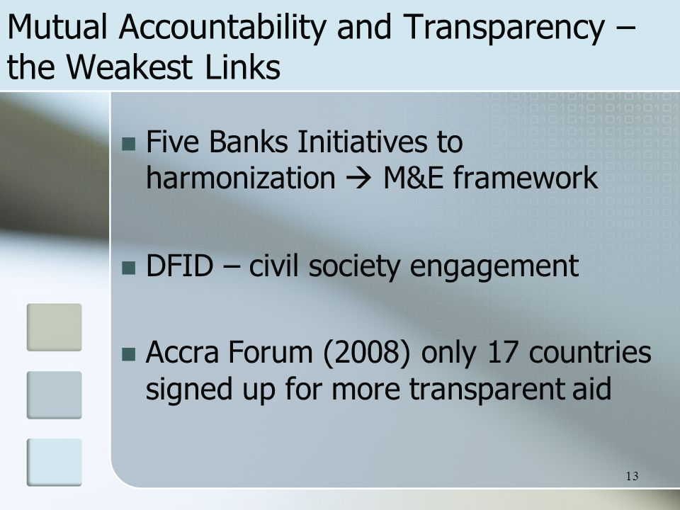 Mutual Accountability and Transparency – the Weakest Links Five Banks Initiatives to harmonization  M&E framework DFID – civil society engagement Accra Forum (2008) only 17 countries signed up for more transparent aid 13