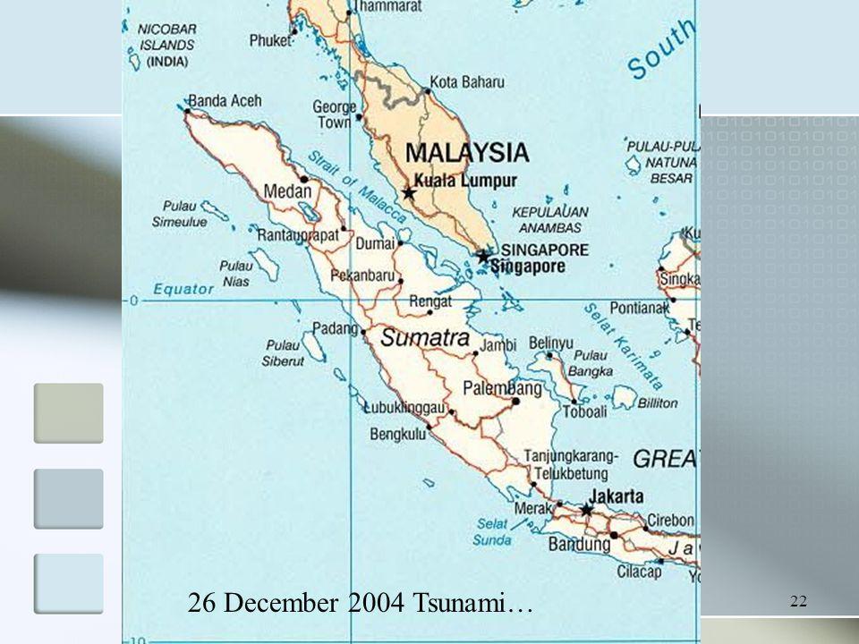 22 26 December 2004 Tsunami…
