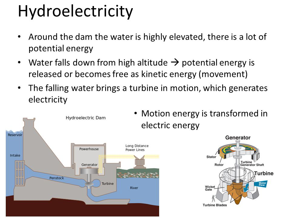Hydroelectricity Around the dam the water is highly elevated, there is a lot of potential energy Water falls down from high altitude  potential energy is released or becomes free as kinetic energy (movement) The falling water brings a turbine in motion, which generates electricity Motion energy is transformed in electric energy
