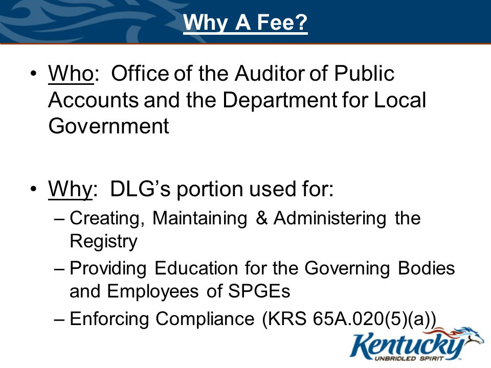 Why A Fee? Who: Office of the Auditor of Public Accounts and the Department for Local Government Why: DLG's portion used for: –Creating, Maintaining &