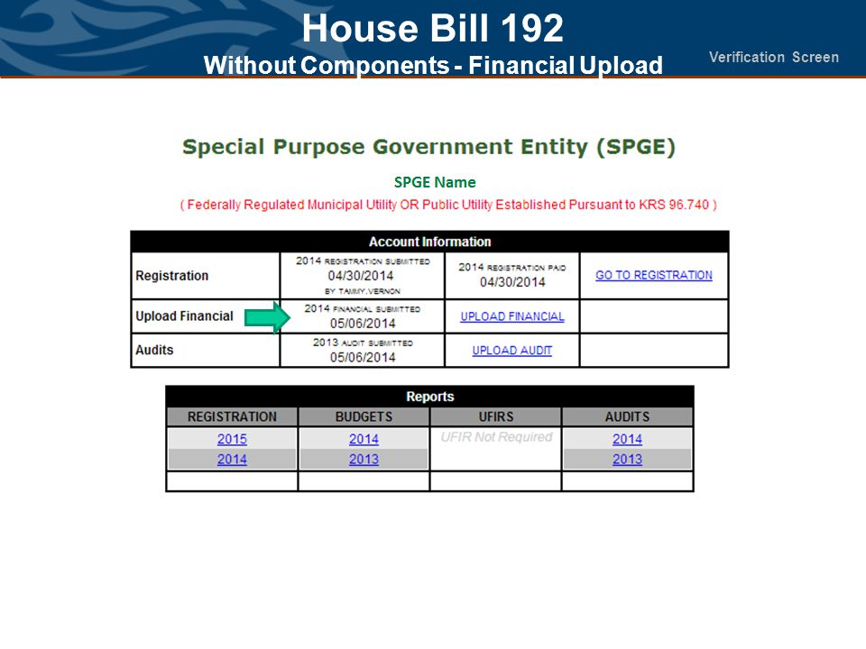 House Bill 192 Without Components - Financial Upload Verification Screen