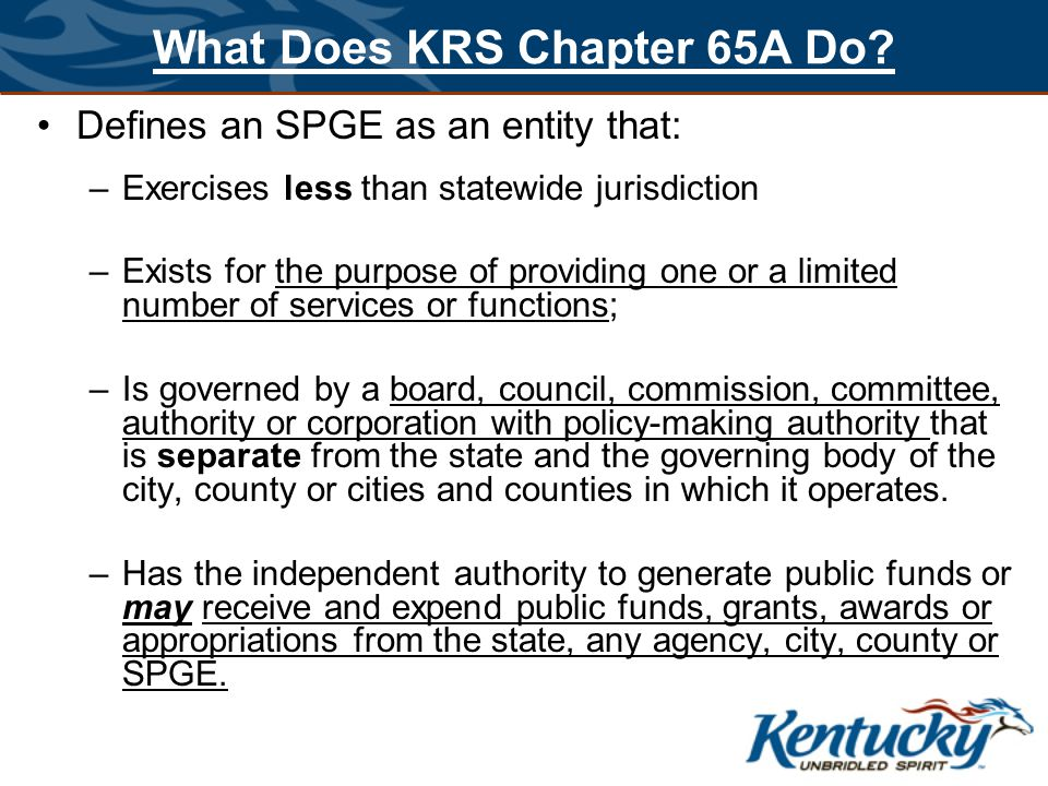 What Does KRS Chapter 65A Do.