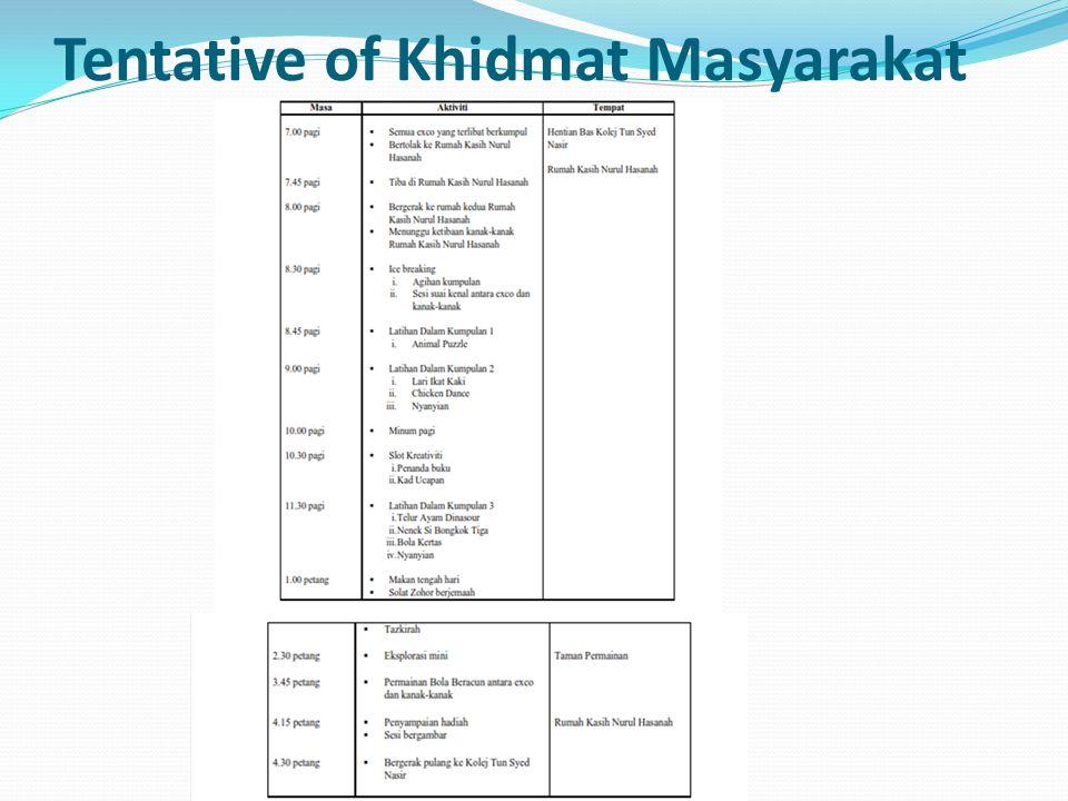 Tentative of Khidmat Masyarakat