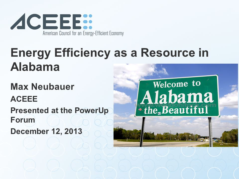 The American Council for an Energy- Efficient Economy (ACEEE) ACEEE is a nonprofit 501(c)(3) that acts as a catalyst to advance energy efficiency policies, programs, technologies, investments & behaviors.