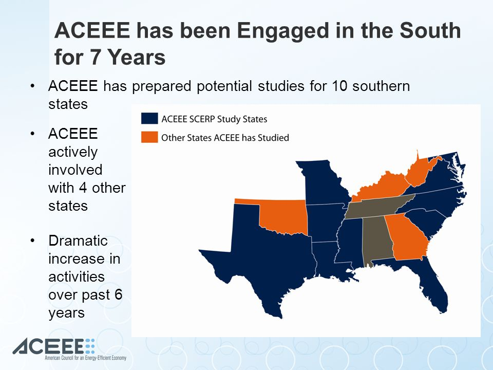 ACEEE has been Engaged in the South for 7 Years ACEEE has prepared potential studies for 10 southern states ACEEE actively involved with 4 other states Dramatic increase in activities over past 6 years