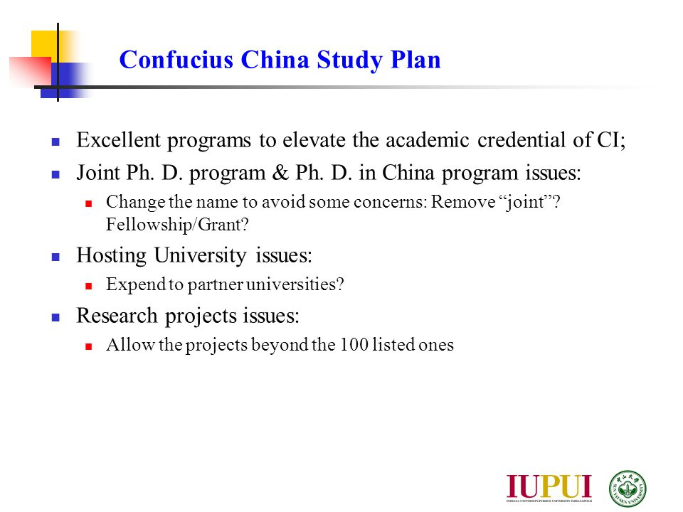 Excellent programs to elevate the academic credential of CI; Joint Ph.