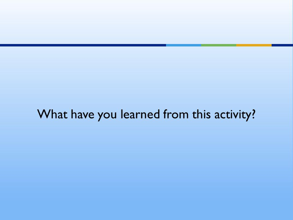 What have you learned from this activity?