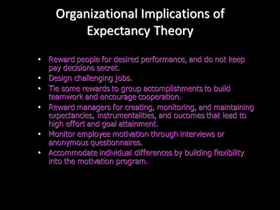 Managerial Implications of Expectancy Theory Determine the outcomes employees value. Determine the outcomes employees value. Identify good performance