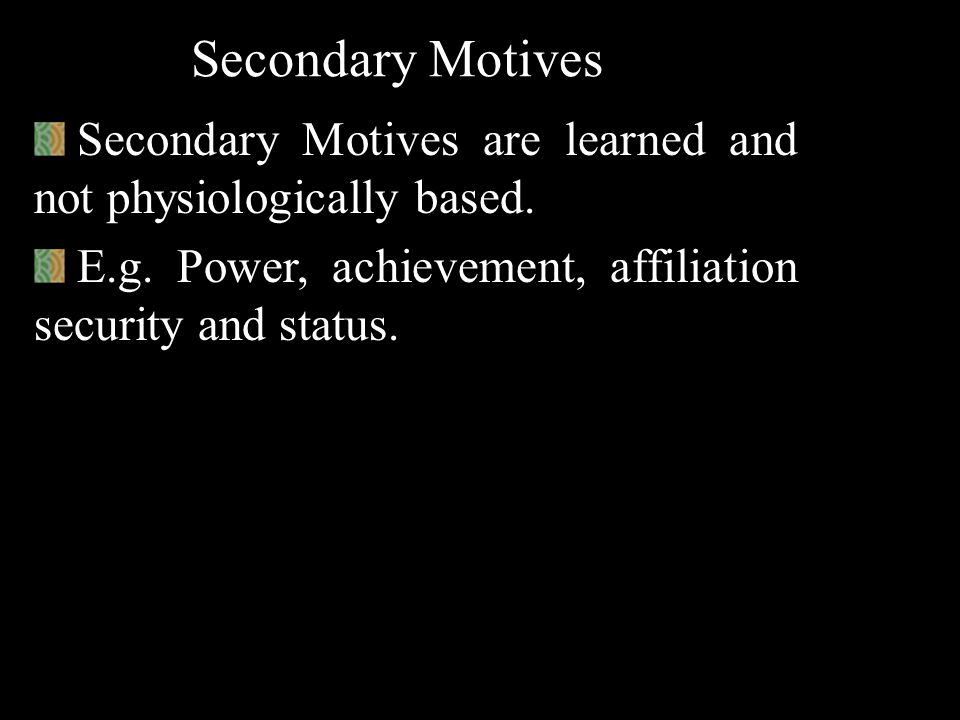 General Motives General Motives are unlearned but not physiologically based. Unlike primary motives, they induce the amount of stimulation. E.g. Curio