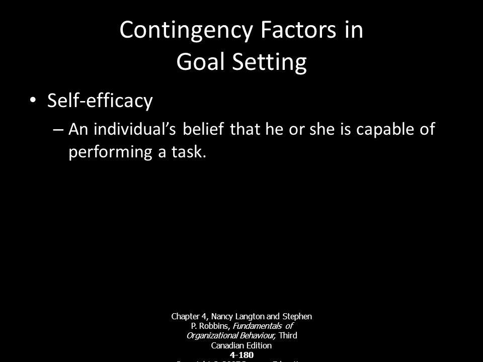 Exhibit 4-7 Locke's Model of Goal Setting Chapter 4, Nancy Langton and Stephen P. Robbins, Fundamentals of Organizational Behaviour, Third Canadian Ed