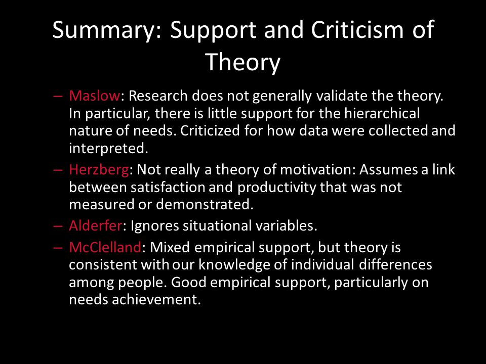 Summary: Impact of Theory – Maslow: Enjoys wide recognition among practising managers. Most managers are familiar with it. – Herzberg: The popularity