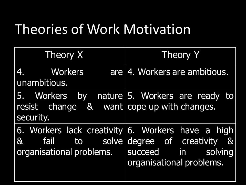 Theories of Work Motivation Theory X Theory Y 1. Workers dislike to work by themselves. 1. Workers feel that work is as natural as play. 2. Workers ar