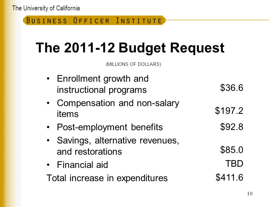 The University of California The 2011-12 Budget Request Enrollment growth and instructional programs Compensation and non-salary items Post-employment