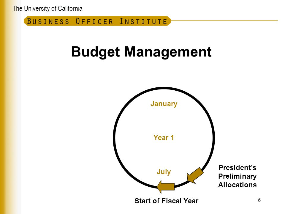 The University of California Budget Management January July Year 1 President's Preliminary Allocations Start of Fiscal Year 6