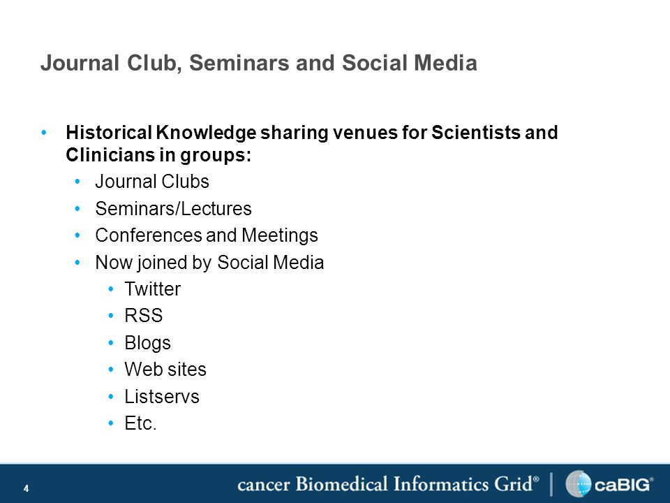 4 Journal Club, Seminars and Social Media Historical Knowledge sharing venues for Scientists and Clinicians in groups: Journal Clubs Seminars/Lectures Conferences and Meetings Now joined by Social Media Twitter RSS Blogs Web sites Listservs Etc.